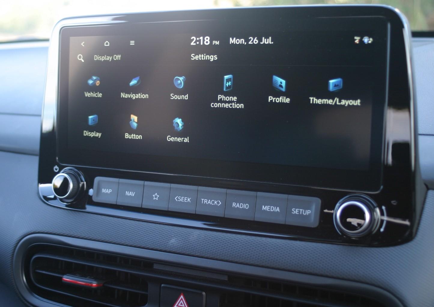 Hyundai Kona N Line Premium infotainment screen