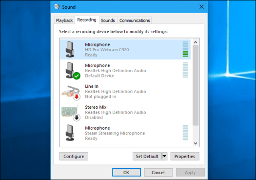 Set Your Default Microphone Device