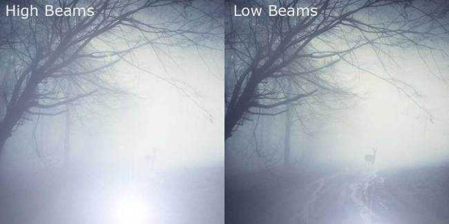 Compare high beams - lowbeams. Adaption by driversprep. Original photo by andreiuc88
