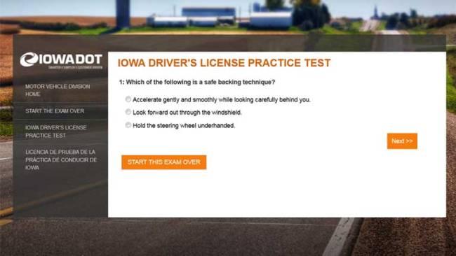 Iowa Driver's License Practice Test - Copyright: Iowa DOT