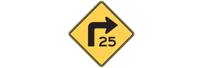 Turn Sign with Advisory Speed