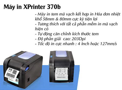 máy in mã vạch Xprinter XP-370B, máy in xprinter giá rẻ, may in ma vach xprinter xp-370b