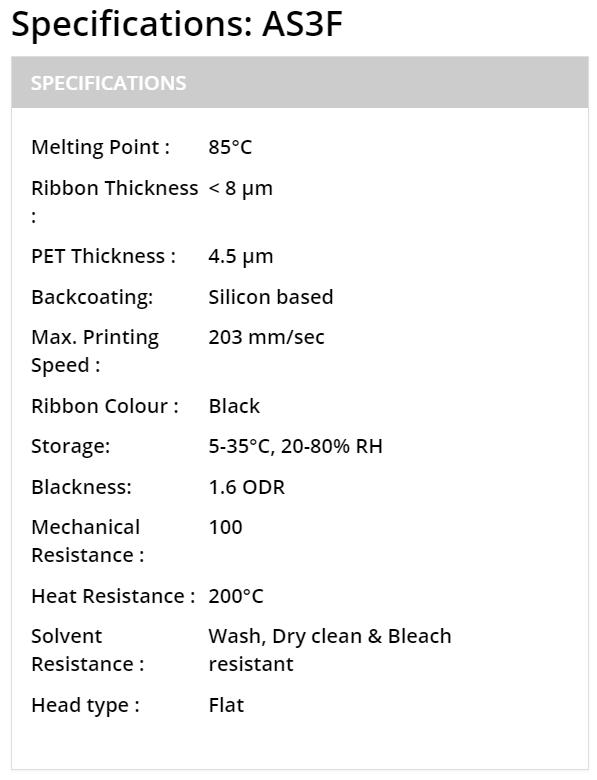 Mực in mã vạch ribbon Resin AS3F giá tốt, nhập khẩu