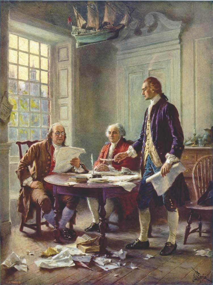 """Writing the Declaration of Independence, 1776,"" Jean Leon Gerome Ferris (1900)"