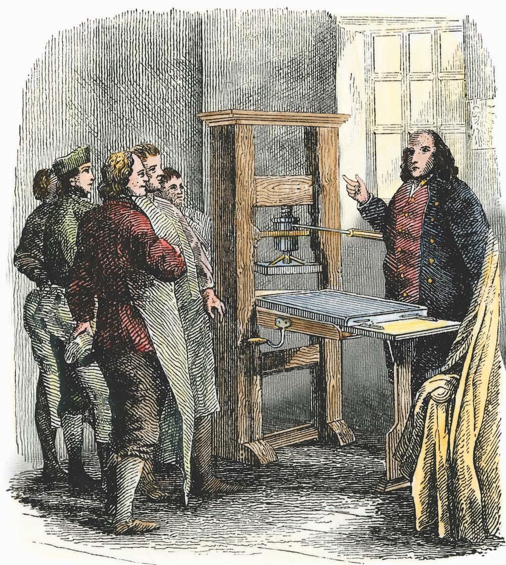 Benjamin Franklin at his printing press, Philadelphia