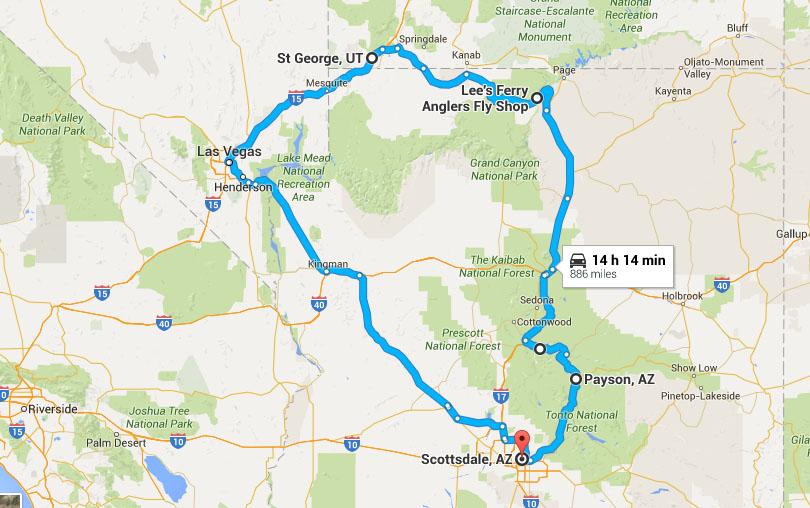 Map Of Arizona And Utah National Parks