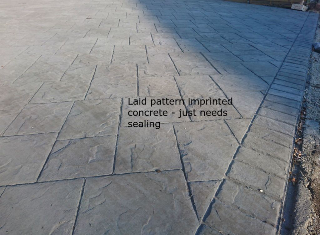 pattern imprinted concrete before sealing