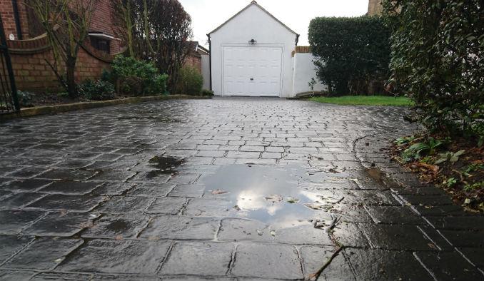 Pattern Imprinted Concrete Installation wash off