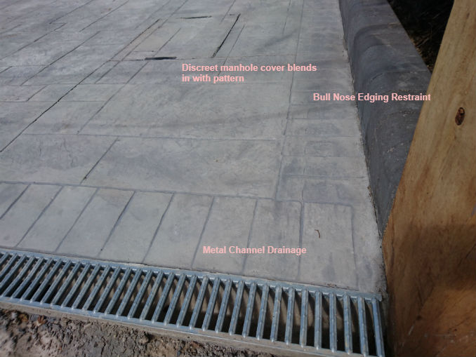 pattern imprinted concrete edging and drainage
