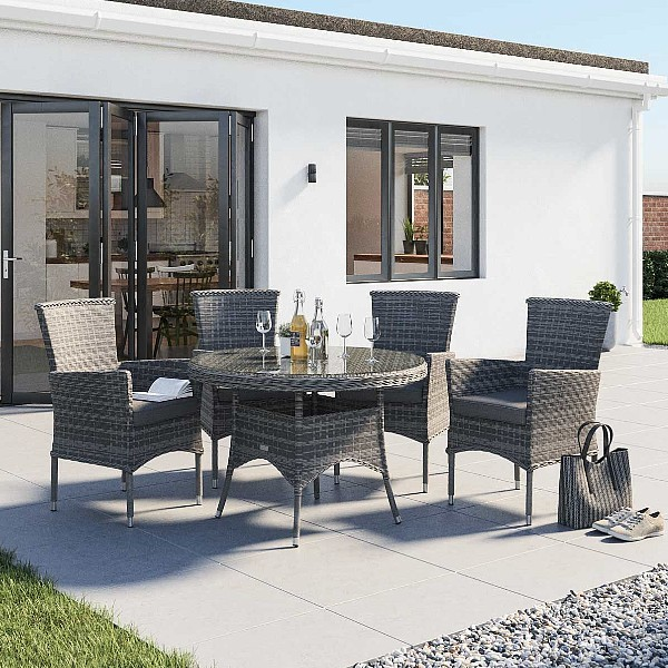 Cambridge 4 Rattan Chairs and Small Round Dining Table Set in Grey