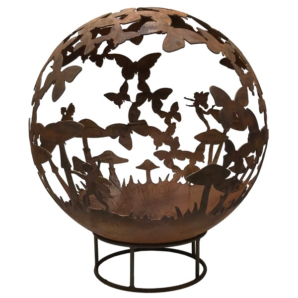 Garden Fire Ball 70cm Fairy Design with Rust Finish