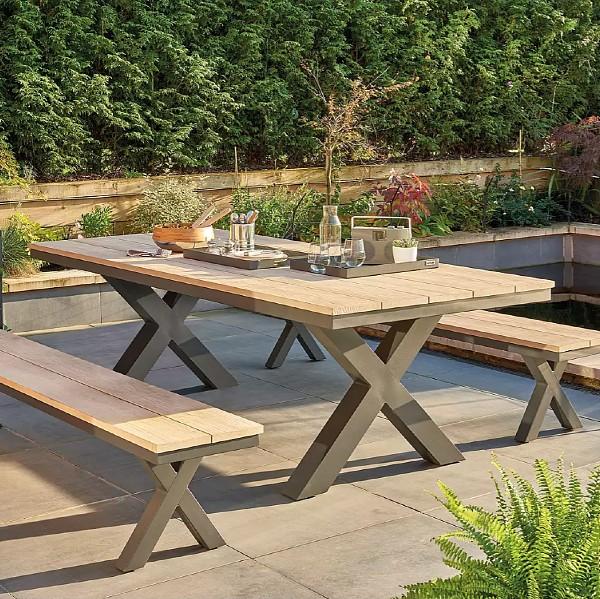Elba Garden Teak Wood Picnic Dining Table Set in Anthracite/Teak