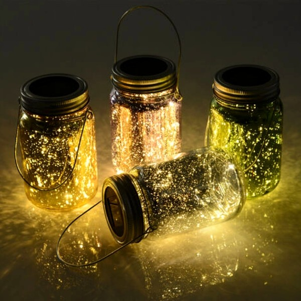 Outsunny Set Of 4 Fairy Light Jars Solar Powered Outdoor Light Multi coloured