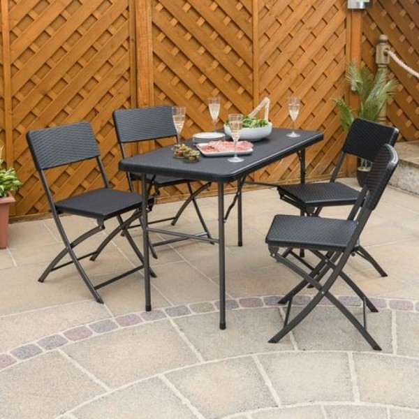 Rattan Effect 4ft Table & Chairs