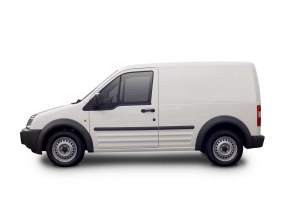 Small white self-employed, freelance courier parcel delivery van
