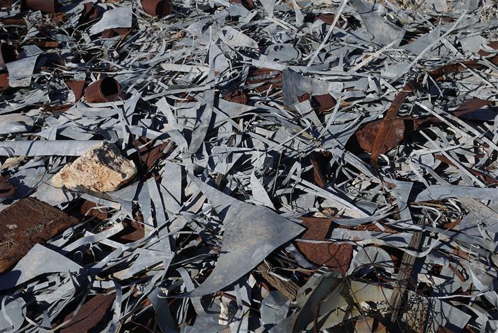 Pile of galvanized steel scraps.