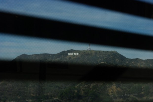 The Hollywood sign goes incognito, as seen from the Observatory.
