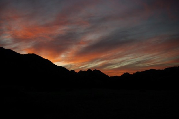 Sunset from our campsite in Malibu Creek State Park.