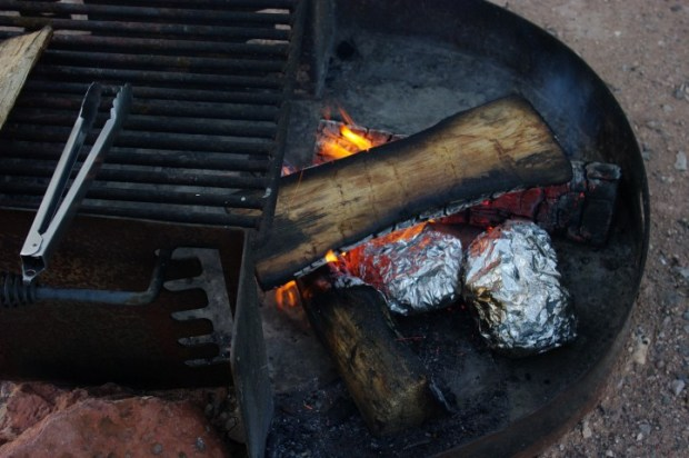 Our campfire pit was too well cleaned, and we didn't have enough wood to create a good bed of coals.