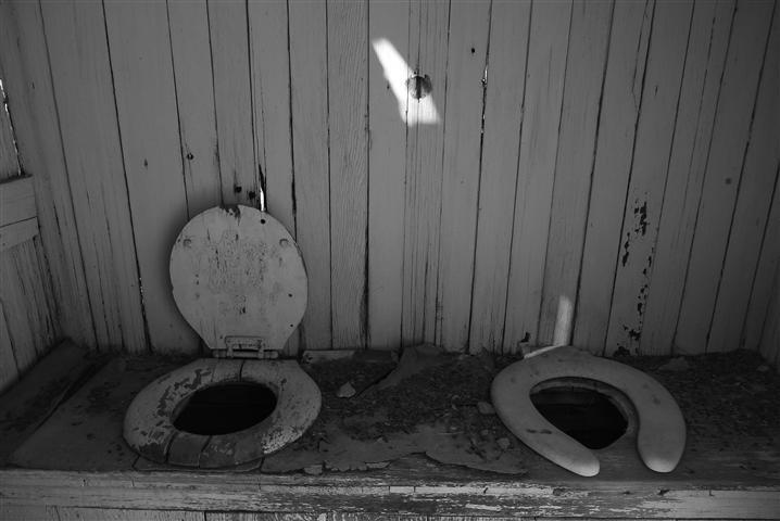 Abandoned toilets near Eureka Mine.