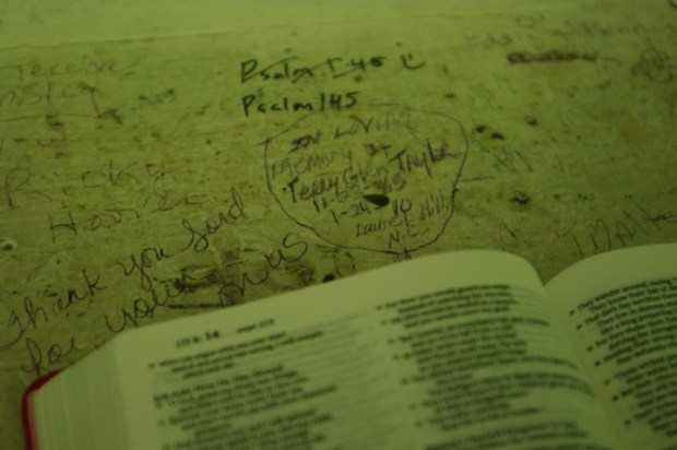 Religious graffiti seems to be popular in the Cades Cove churches.