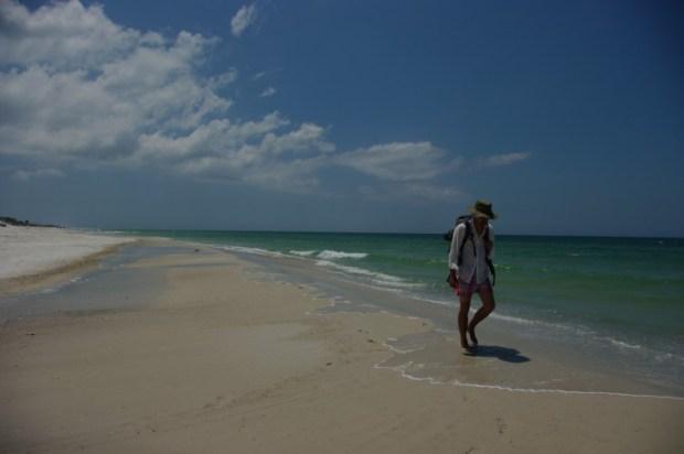 Our long trek down the beach.