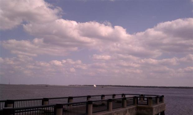 Charleston harbor view. Love the tall ship.