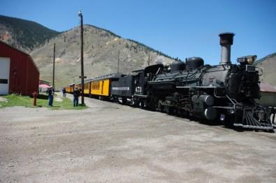 The Durango & Silverton line pulls right into town.