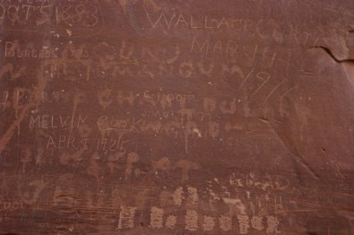 Pioneers scratched their names into the rock in Capitol Gorge.