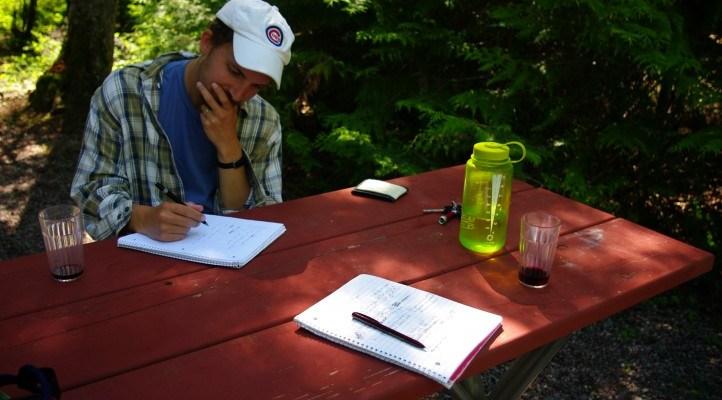 Writing haiku in Glacier National Park