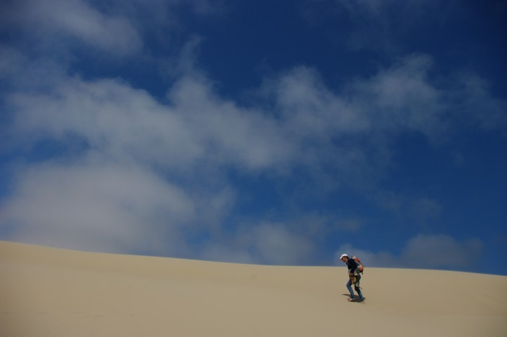 Paul crossing one of the largest dunes.