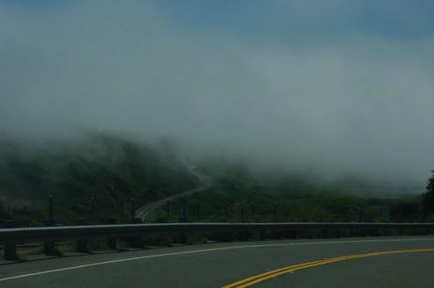 Fog along the northern California coast.