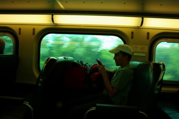 On the Metra with too much luggage.
