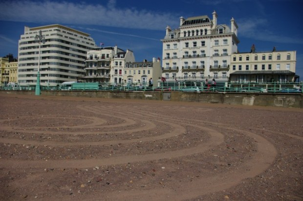 The beach is lined with grand old hotels but is totally public.