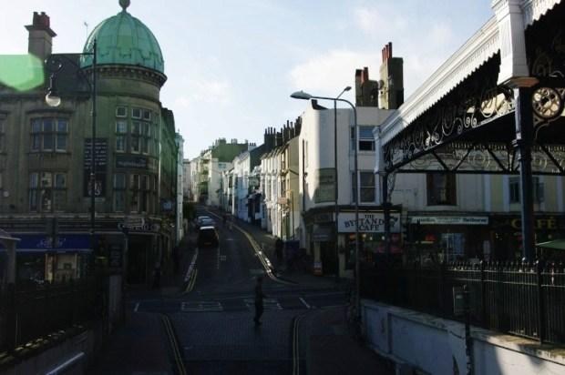 A street near the train station.