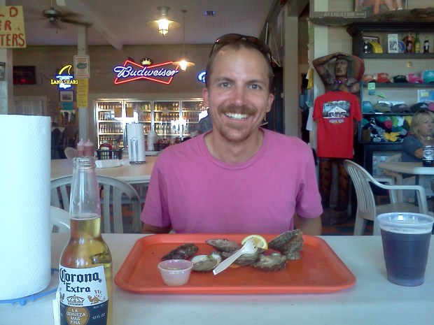 Paul ready to enjoy his oysters at The Indian Pass Raw Bar.