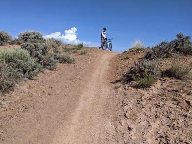 At the top of a tough climb.