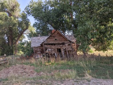 A leaning house in Red Canyon, south of Lander