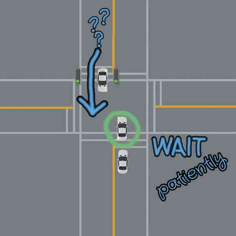 left turn visibility blocked