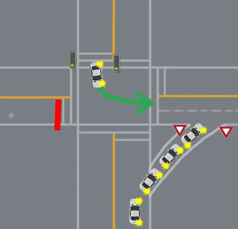 intersection turns yielding