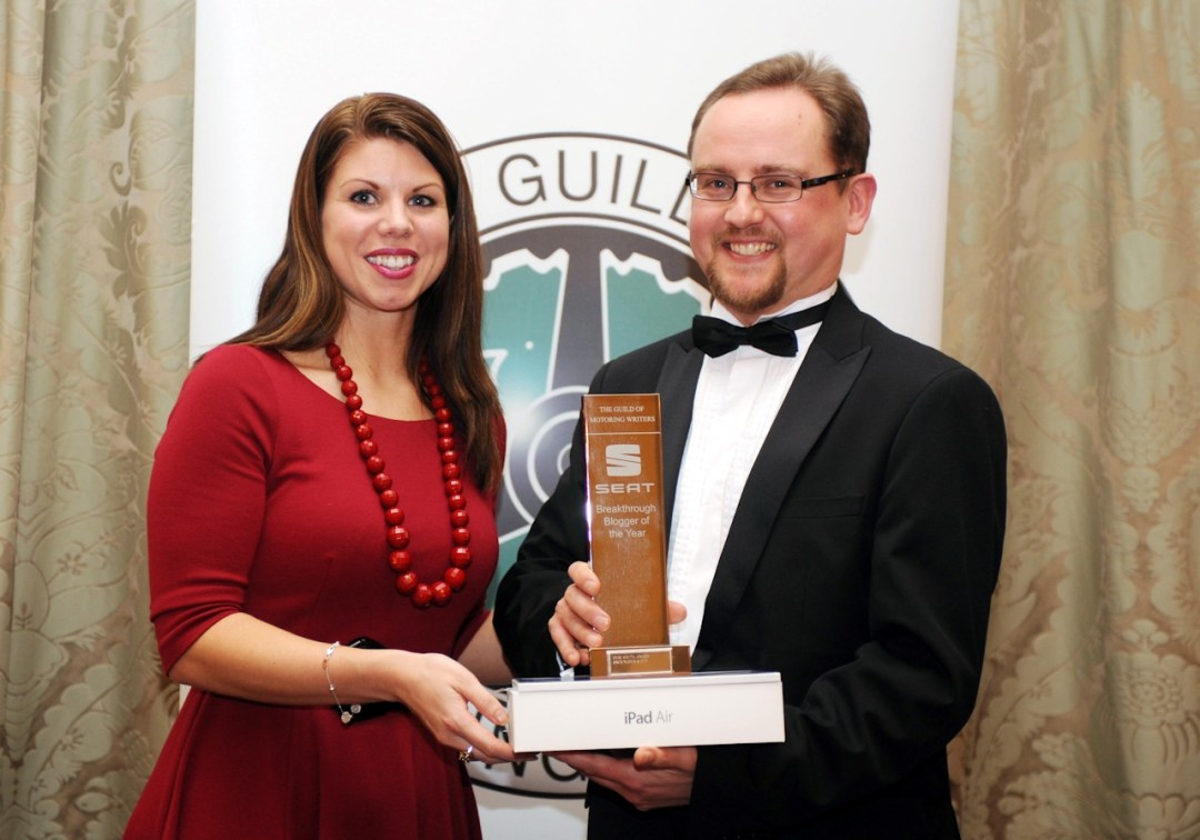 SEAT Press Relations Manager Katherine Nebbitt with 2013 SEAT Breakthrough Blogger of the Year Chris Auty