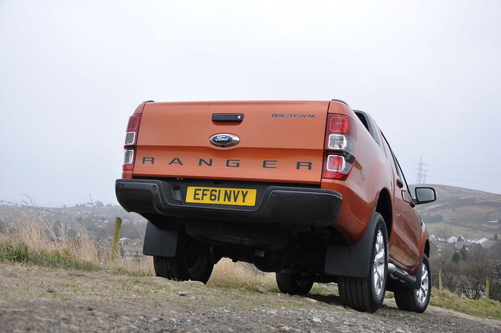 Ford Ranger Wildtrak orange rear under