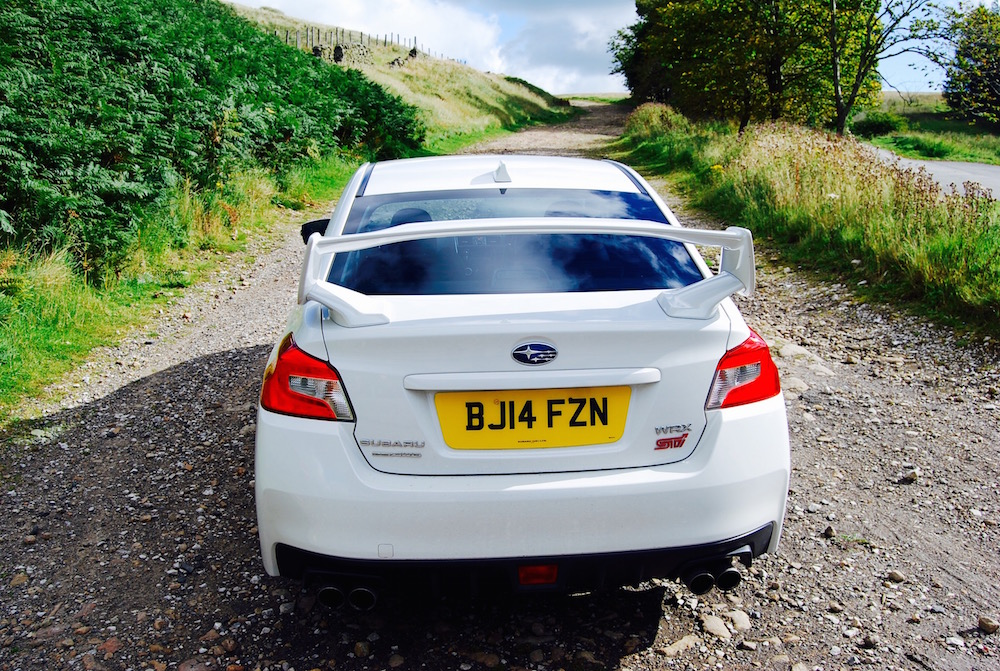 Subaru WRX STI white rear