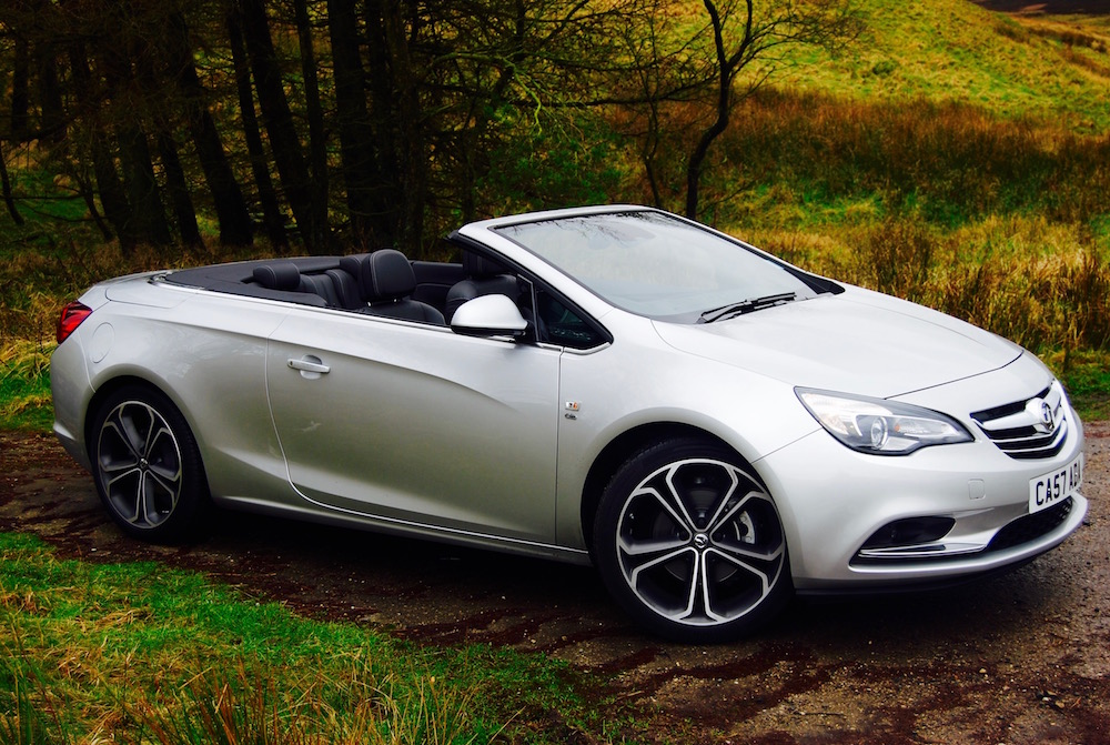 vauxhall cascada silver roof down side
