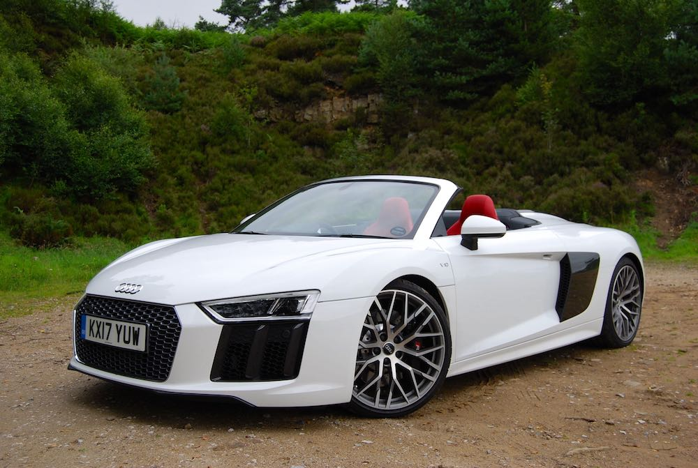 Audi R8 Spyder white front side