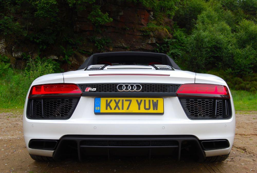 Audi R8 Spyder white rear