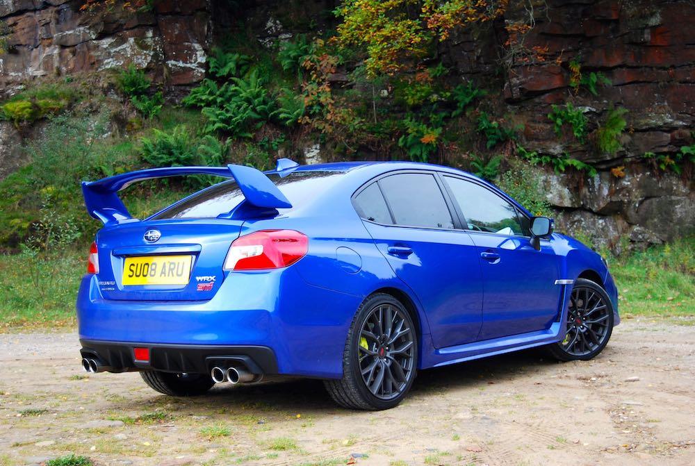subaru wrx sti final editon blue rear side review