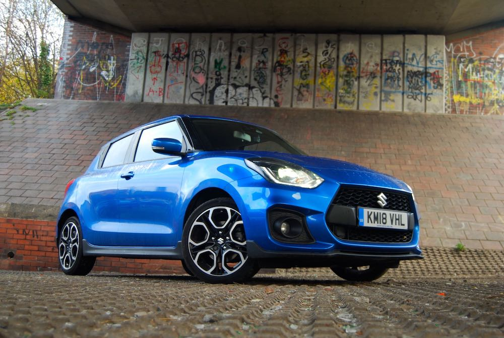 suzuki swift sport 2018 blue side front review roadtest