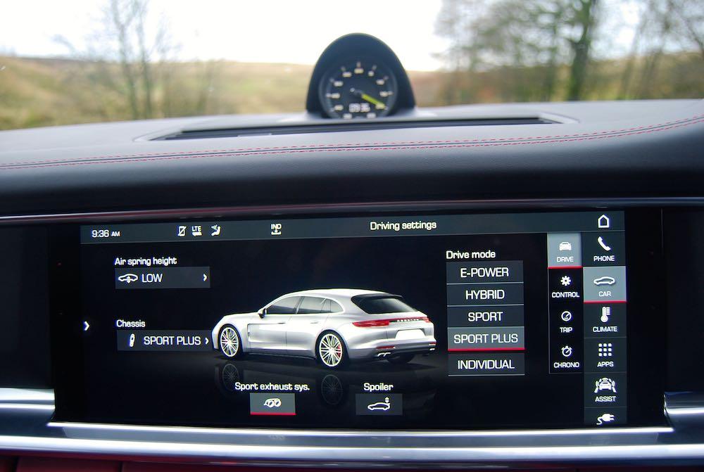 porsche panamera turbo s e-hybrid sport turismo settings screen review