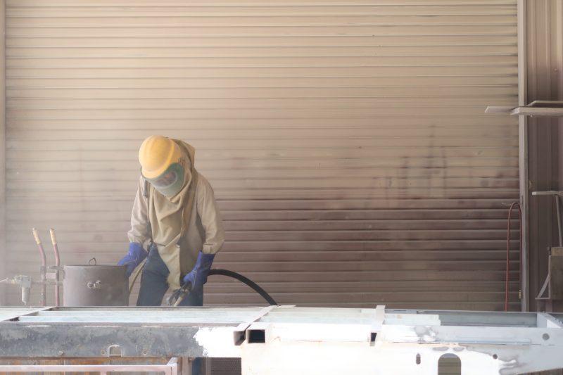 Airstream Renovation sand blasting